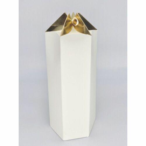 Scatola carta ESAGONALE crema e oro PER BOMBONIERA 12.5x11x25 cm 0WN7
