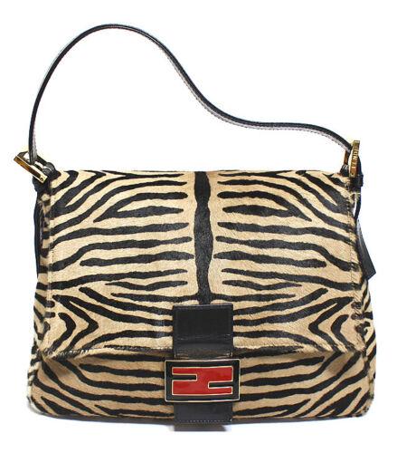 FENDI Calf Hair & Leather Tiger Print Mamma Baguet