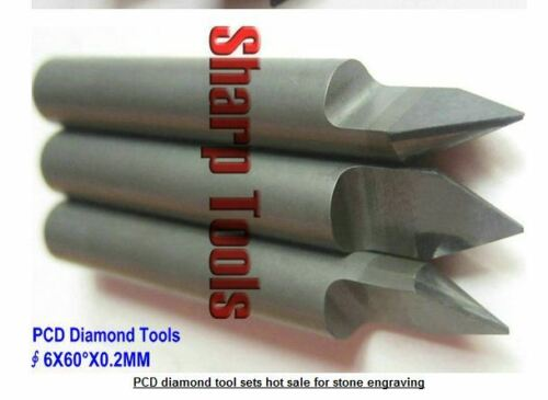 1pcs 6MM*60°*0.2mm Polycrystalline PCD Diamond CNC router bit Granite Stone