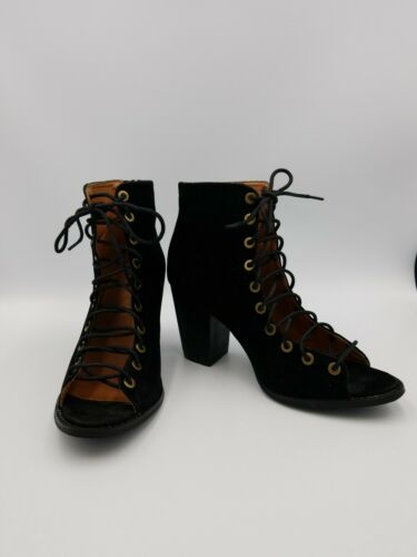 Black Open Front Lace Up Fetish Heels Size 7/8