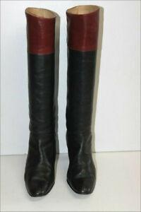 Bottes-Vintage-Tout-Cuir-Bicolore-Noir-bordeaux-Petits-Talons-T-5-38-BE