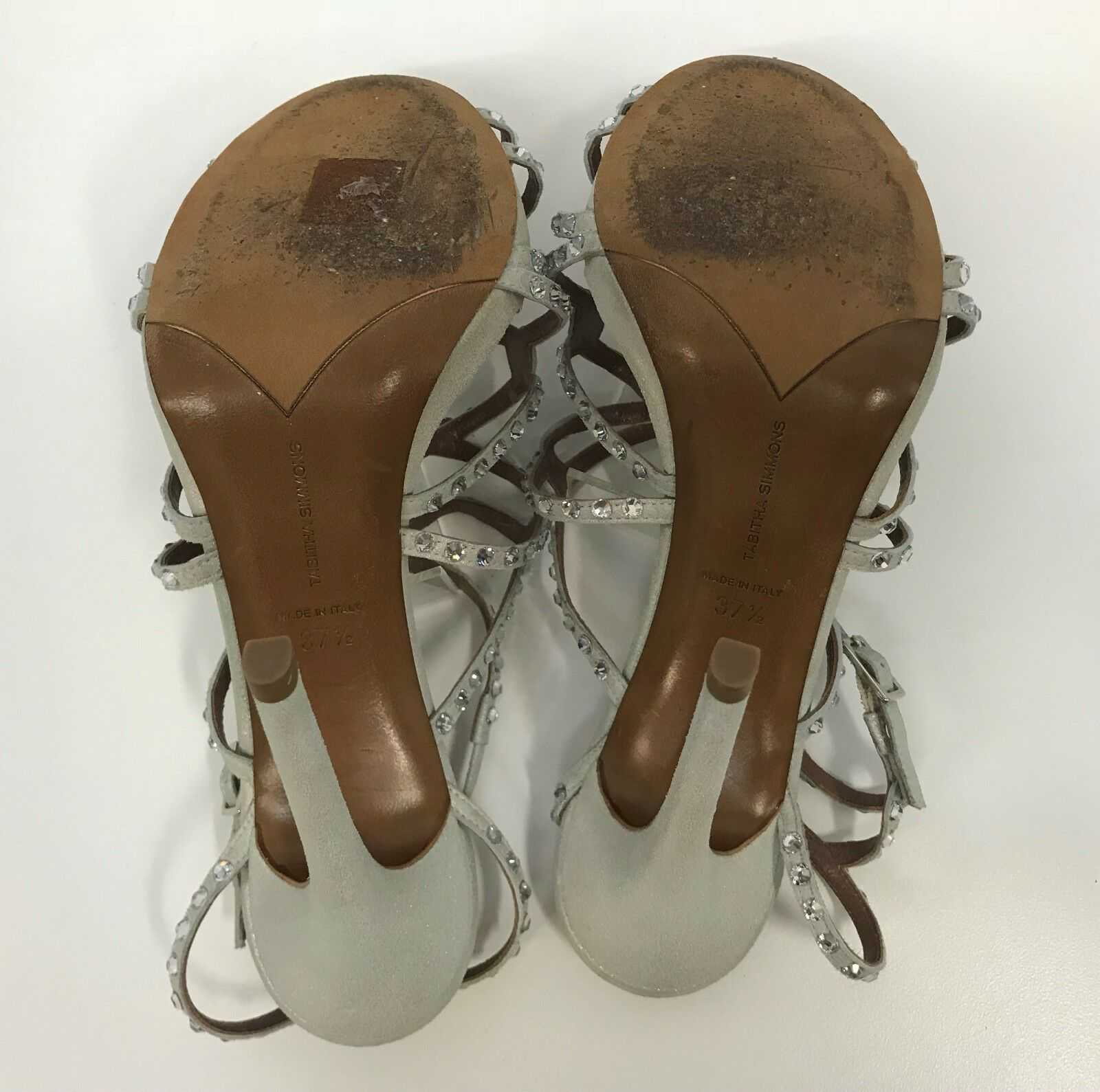 TABITHA SIMMONS Schuhe CRYSTALS W/ OPENS STRAPPY STRAPS SILVER SILVER SILVER CHAMPAGNE 37 1/2 7 7bc2c0