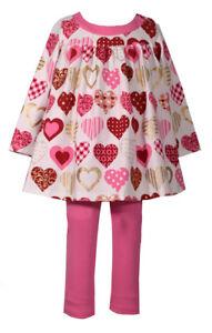 Bonnie Jean Girls Valentines Day Heart Dress Leggings Set 2T 3T 4T New