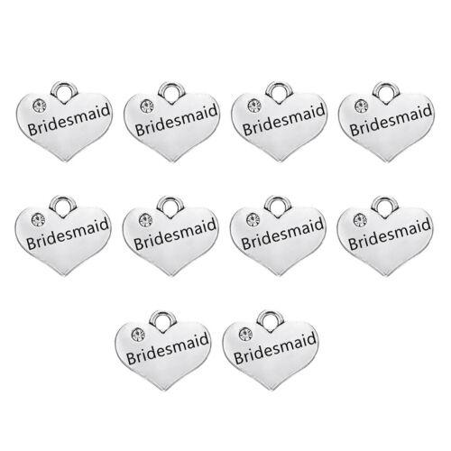 10x Love Heart Rhinestone Charm Bracelets Necklace Pendant Beads Jewelry DIY