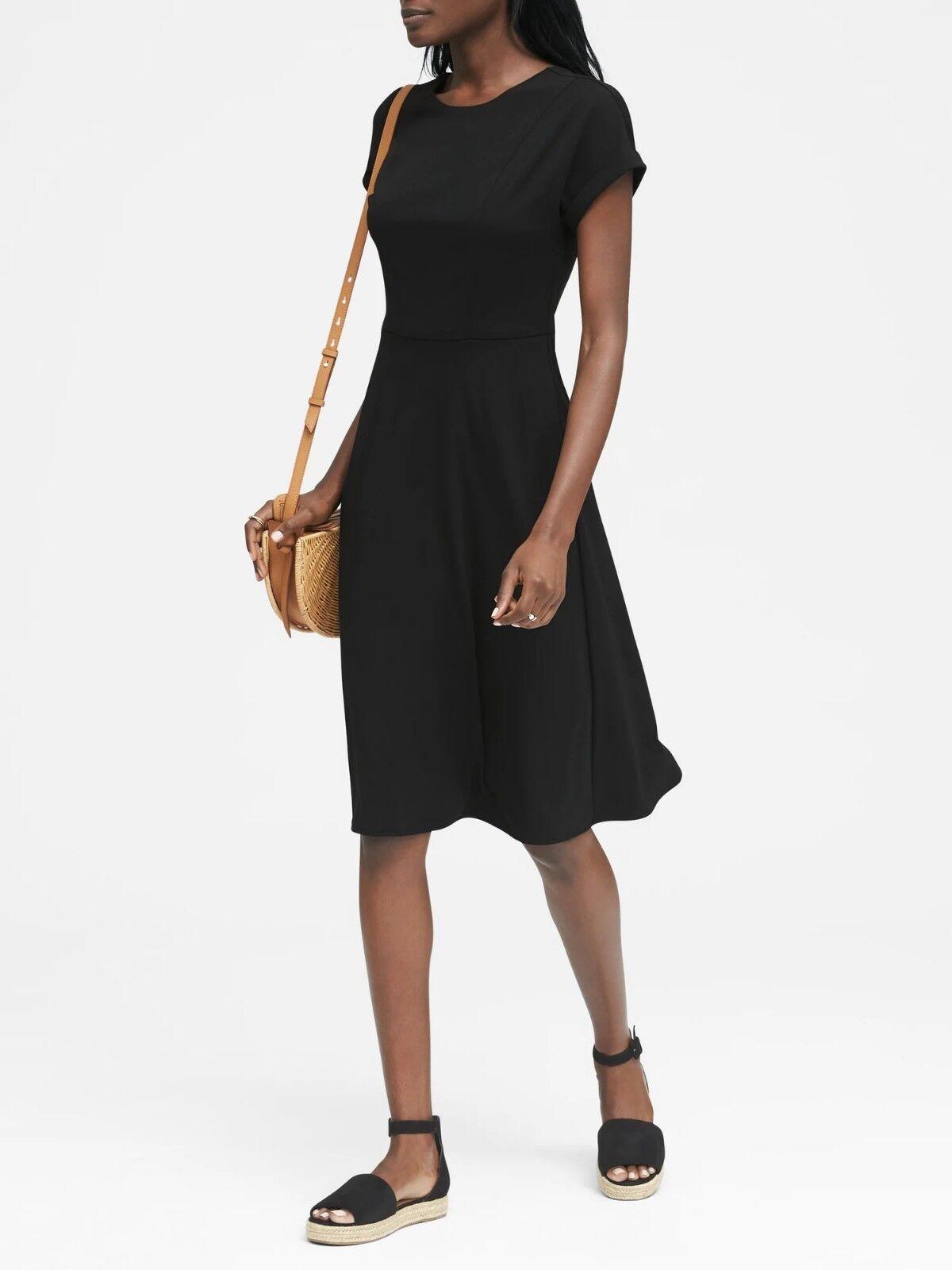 Banana Republic Soft Ponte Tie-Back Fit-and-Flare Dress,schwarz SZ 8 E823