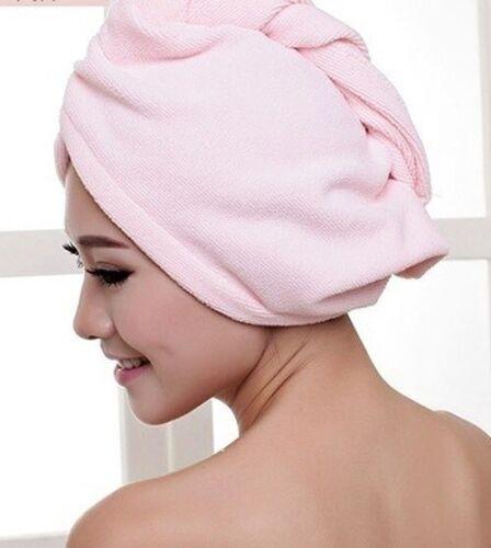 Microfiber Towel Quick Dry Hair Drying Turban Wrap Hat Cap Bathing Shower 2pcs