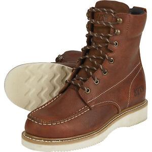 de284105917 Details about Gravel Gear Men's 8in. Moc Toe Wedge Work Boots - Brown