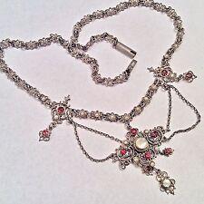 Victorian Austro Hungarian Silver / Gold Garnet Pearl festoon Pendant Necklace