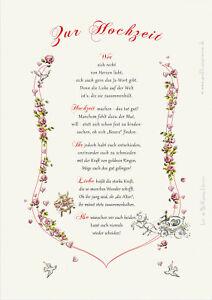 Hochzeit-Geschenk-Urkunde, Trauung, Heirat, Vermählung, Zeichnung mit Gedicht