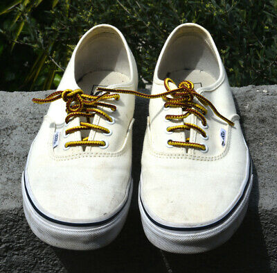 VANS WHITE DECK SHOE WITH LEATHER LACES