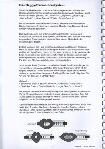 Mundharmonika-Spielheft OHNE Noten für Bluesharp Volkslieder Teil II