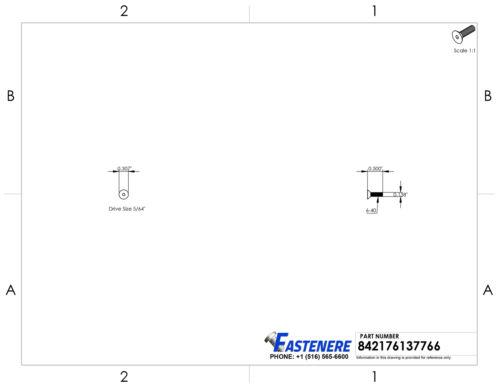 "6-40 x 1//2/"" Flat Head Socket Cap Screws Grade 8 Steel Black Oxide Qty 500"