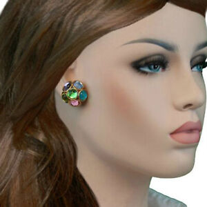 Clip-On-Earrings-Multi-Color-Pastel-Jeweled-Cluster-Gold-Tone-Center-Green