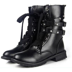 2016 Womens Lace Up Spiked Studded Boot Flat Military Combat Boot Platform Shoes
