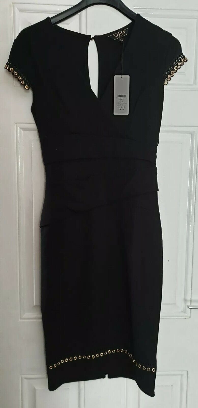 Da Donna Lipsy nero oro Dress London Lycra Lycra Lycra BNWT RRP  Taglia 034221