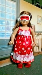 Valentine-Heart-Nightgown-Eye-Mask-Slippers-18-034-Doll-Clothes-fits-American-Girl