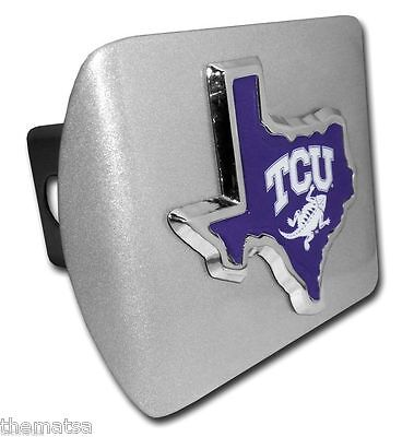 TCU Metal Texas Shape Auto Emblem with the Texas Flag