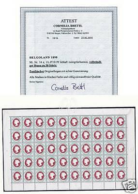Helgoland Nr:14e vollständiger Bogen Postfrisch  Attest Brettl BPP