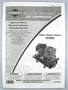 briggs stratton 074002 elite series air compressor operator owner rh ebay com