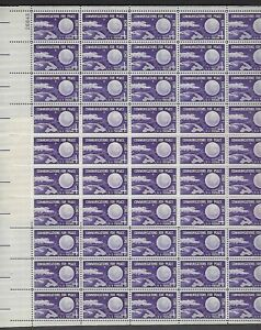 """FIRST /""""SPACE/"""" POSTAGE STAMP #1173 Full Mint Sheet of 50 Stamps ECHO I 1960"""