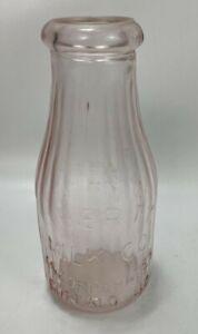 Antique-Vintage-LIBERTY-MILK-CO-Buffalo-NY-Pink-Glass-1-Pint-MILK-BOTTLE
