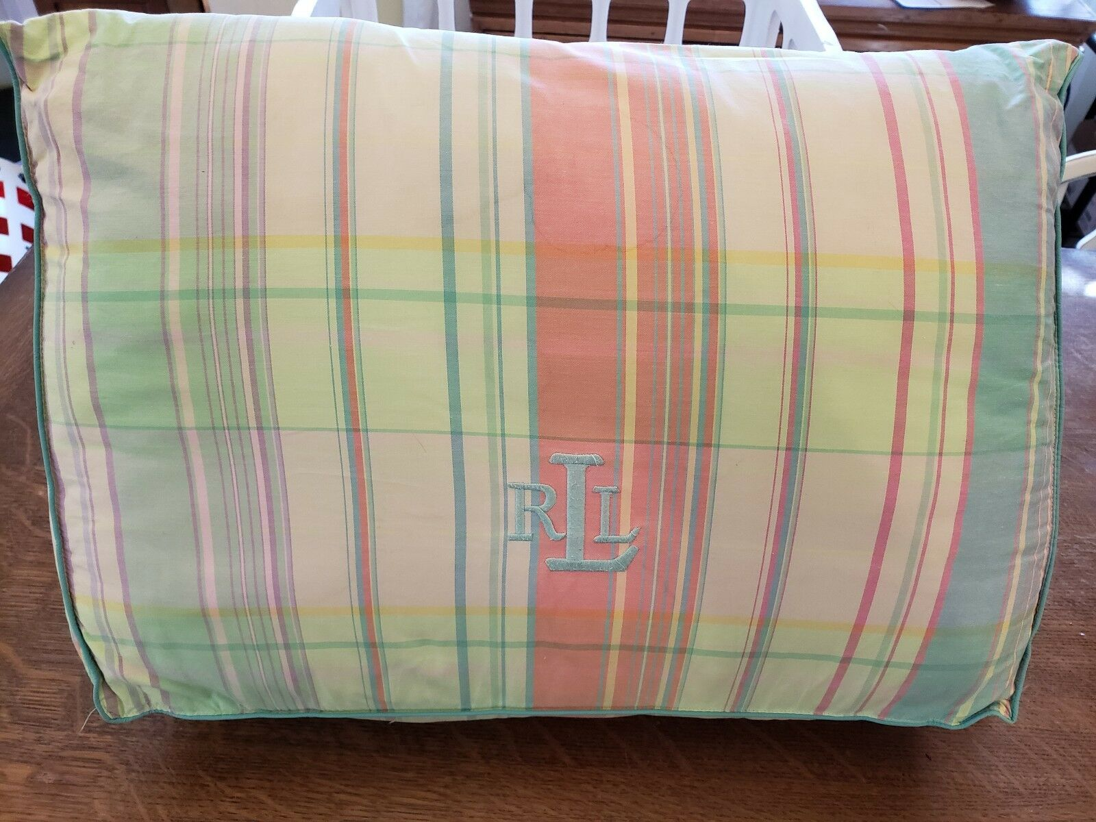 RALPH LAUREN pastels Madras plaid monogram RLL wedge pillow 20x15x5
