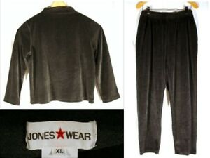 JONES-WEAR-New-York-Gray-Velour-TWO-PIECE-Top-amp-Pants-Outfit-EXTRA-LARGE
