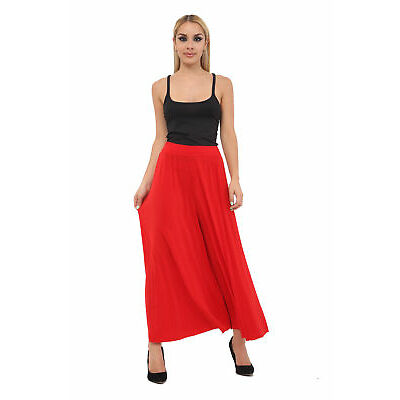 Ladies Crinkle Pleated Wide Leg Palazzo Culotte Summer Party Casual Pant Trouser