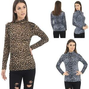 New-Womens-Ladies-Leopard-Print-Long-Sleeve-Turtle-Polo-Neck-T-shirt-Top-UK-8-26