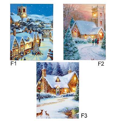 Large Festive Snowman Winter Christmas Snow Scene Light up LED Canvas//Picture F1