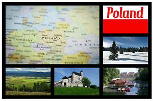 Pologne Carte / Drapeau - Souvenir Nouveauté Réfrigérateur Aimant,Sites / /