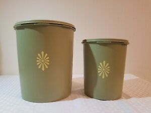 TUPPERWARE VINTAGE Servalier Canister Set with Lids In Avocado Green LOT OF 2