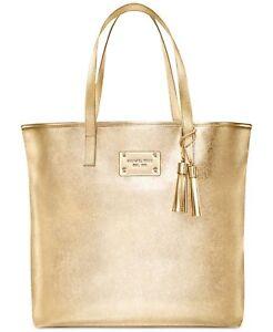 885bc8e3da3 MICHAEL KORS gold metallic tote bag purse shopper shoulder Travel ...
