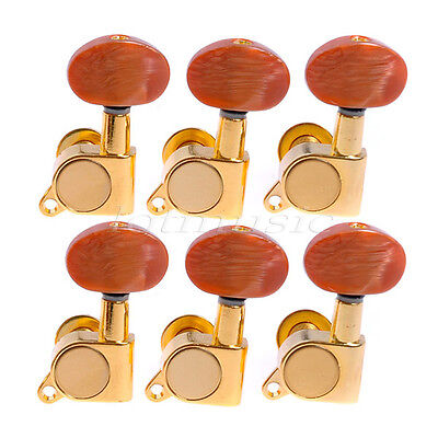 Gold Acoustic Guitar Tuning Pegs Tuners Machine Heads w/Plastic Buttons Set of 6