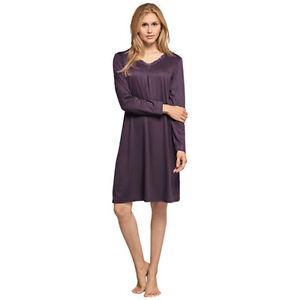 new product b1e06 f538e Details zu Schiesser Damen Nachthemd aubergine exklusiv hochwertig 100 cm  lang