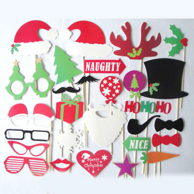 Christmas New Year Photo Booth Props Frame Mustache On A Stick Party Photography