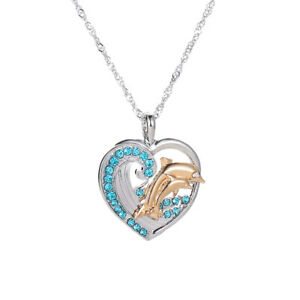 Silver-Crystal-Heart-Dolphin-Pendant-Chain-Necklace-Womens-Mother-Jewellery-Gift