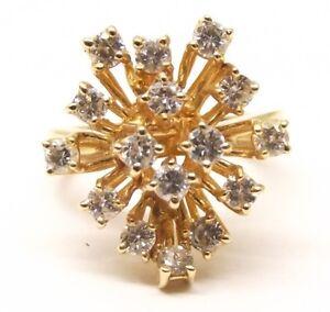 Vtg-14K-Gold-Diamond-Cluster-Ring-Sz-5-5-96-Carat-TCW-Bloom-Harem-Sputnik