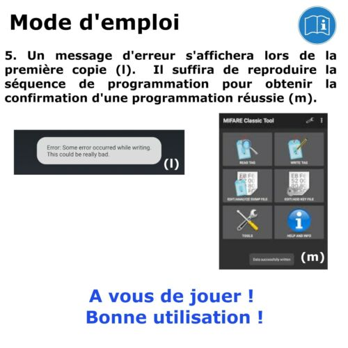 Badge RFID programmable MCT Android UID modifiable lot de 5