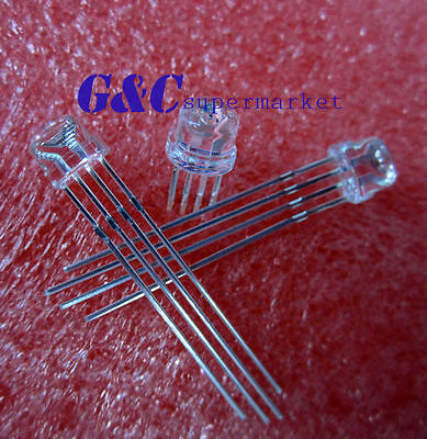 20PCS F5 5mm RGB common anode 4-PINS Straw Hat Superbright Bulb Lamp GOOD QUALIT
