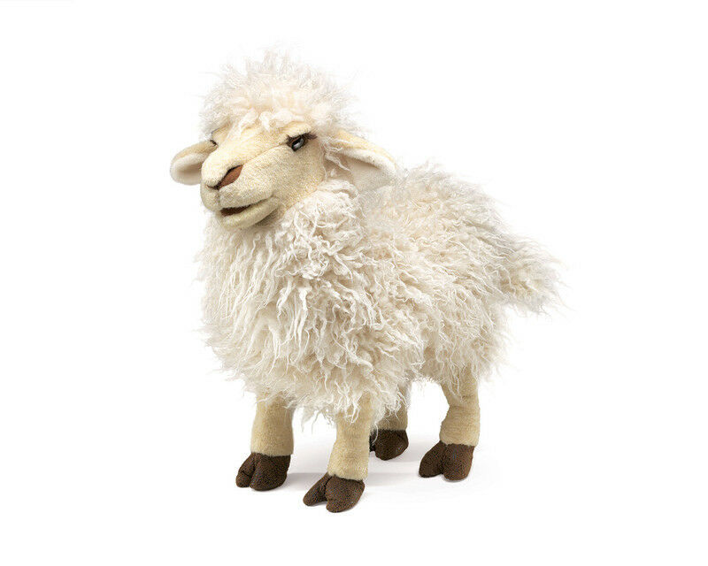 NEW PLUSH SOFT TOY Folkmanis 2982 Woolly Longwool Sheep Full Body Hand Puppet