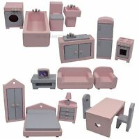 Wooden Doll House Furniture Set, 1/12th Scale Miniature Furniture 18 Pcs