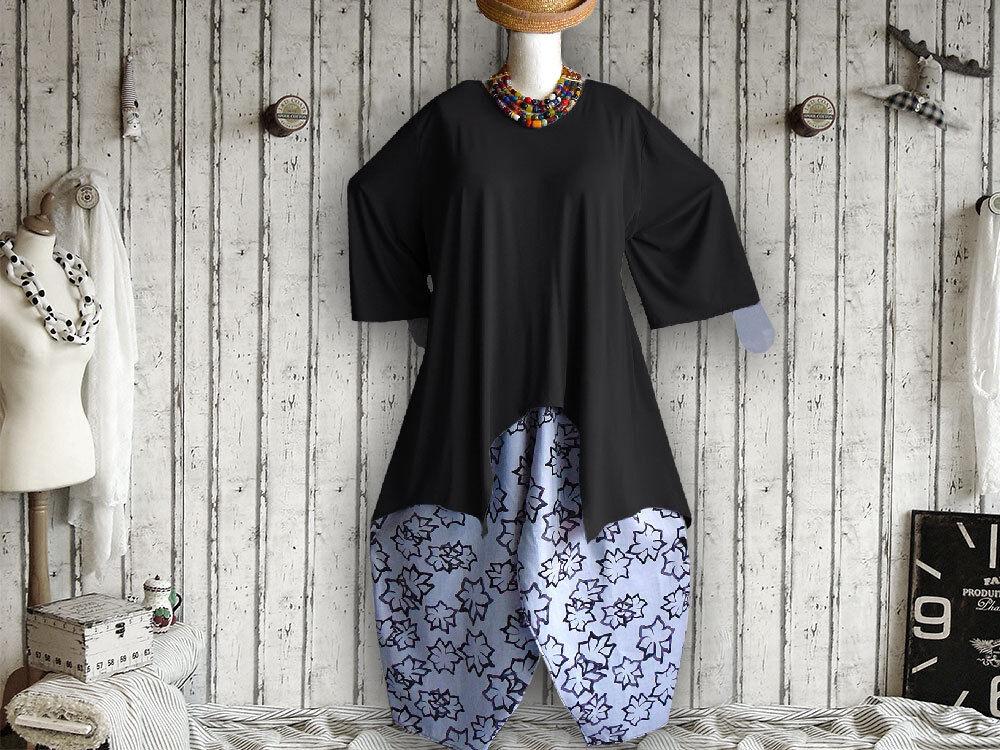 6 Zipfel Tunika Hemd, Grössen von 48 - 64,Jersey, Baumwolle,schwarz