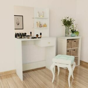 vidaXL-Dressing-Table-Chipboard-75x40x141cm-White-Makeup-Cosmetic-Desk-Mirror