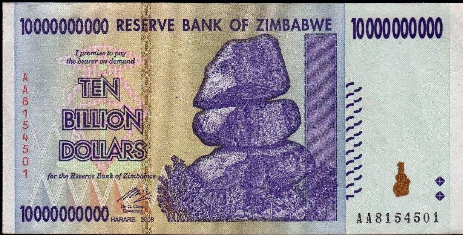 LOT OF TEN ZIMBABWE 20 BILLION DOLLAR BANKNOTES CIRCULATED AA//AB 2008 USED