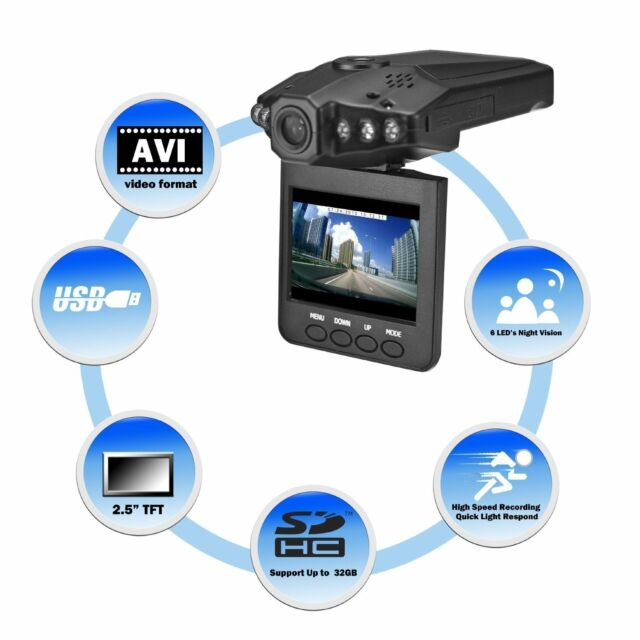 """1280P HD 2.5"""" LCD Night Vision CCTV In Car DVR Accident Video Proof Recorder"""