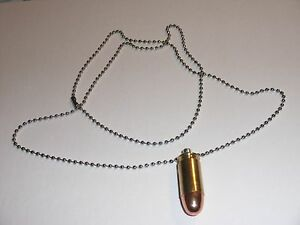 Bullet-Necklace-Neck-Chain-45-ACP-45-Auto-Full-Metal-Jacket-Brass-Casing-NEW