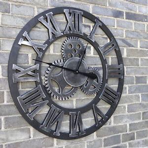 Wanduhr-Quarzuhr-Vintage-Zahnrad-Holz-Metall-Design-Roemische-Zahlen-Uhr-45cm