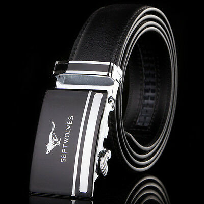 """Cool-Septwolves Mens Belt Genuine Leather Fashion Black/Brown All Size W28""""-44"""""""