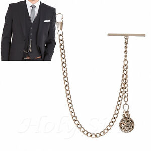 New Silver Colour Single Albert Pocket Watch Chain with Pendant and ... 1a99a90ea382